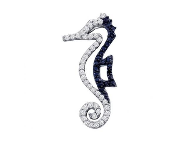Black Diamond Seahorse Pendant Fashion Charm 10k White Gold (1/4 CTW)