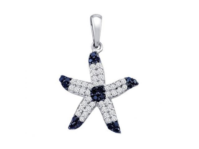 Black Diamond Starfish Pendant Fashion Charm 10k White Gold (1/3 CTW)