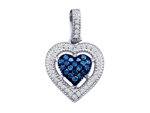 Blue Aqua Diamond Heart Pendant 10k White Gold Charm (1/5 Carat)