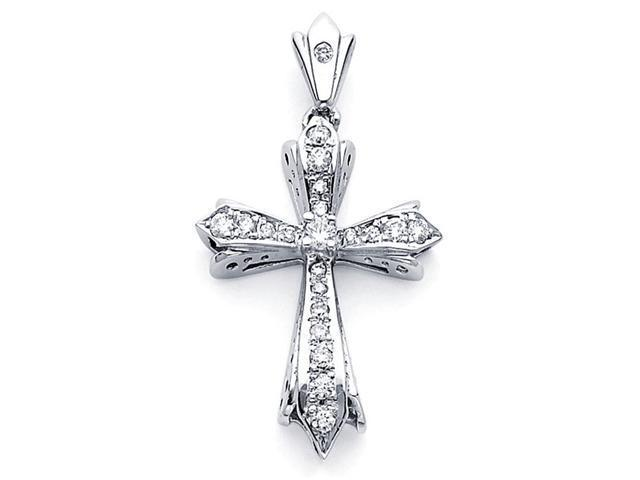 Cross Diamond Pendant 14k White Gold Religious Charm Big Style 0.39 CT