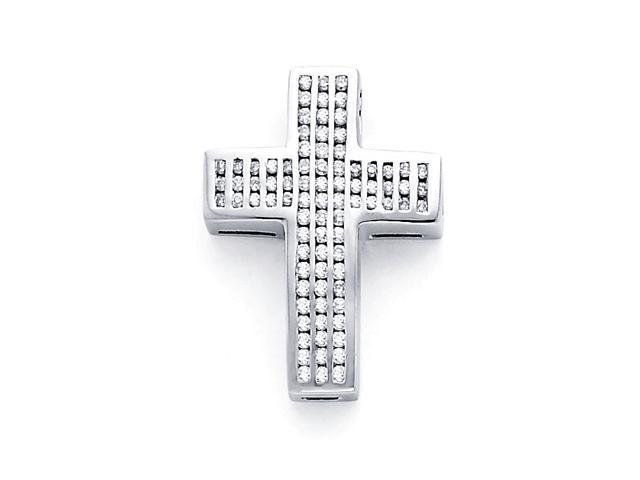 Diamond Cross Pendant 14k White Gold Religious Charm Crucifix (.41 CT)