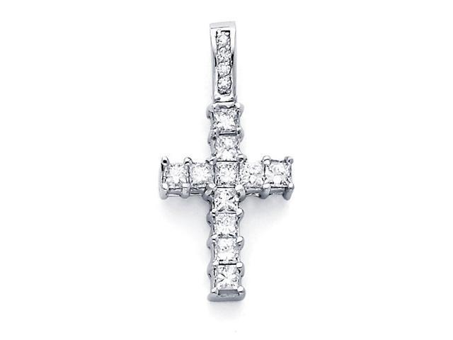 Cross Pendant Princess Diamond 14k White Gold Crucifix Charm (0.82 CT)