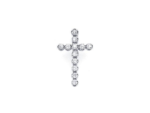 Cross Diamond Pendant 14k White Gold Religious Small Charm (0.17 CTW)