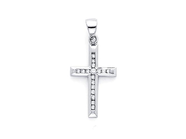 Classic Cross Diamond Pendant 14k White Gold Crucifix Charm (0.11 CTW)