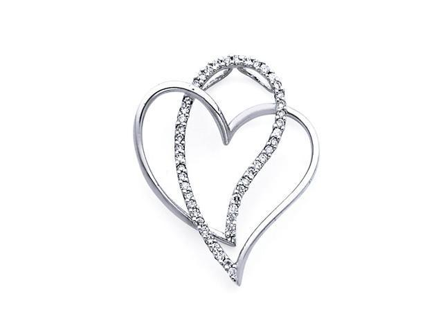 Heart Diamond Pendant 14k White Gold Fancy Charm Love (1/4 Carat)