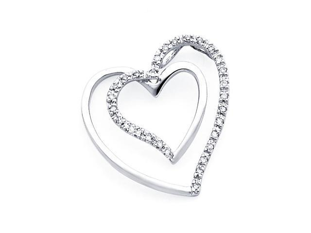 Diamond Heart Pendant 14k White Gold Charm Elegant Love (0.15 Carat)