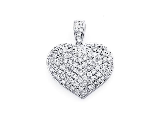 Heart Diamond Pendant 14k White Gold Love Charm Elegant Cluster 1.06ct