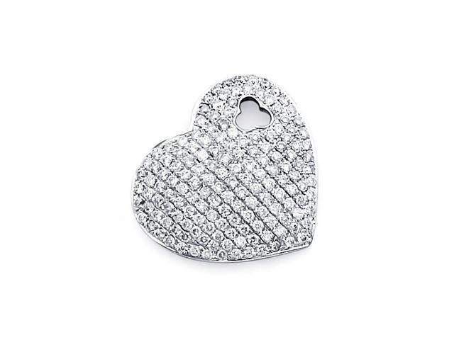Heart Diamond Pendant 14k White Gold Charm Elegant Love (0.80 Carat)