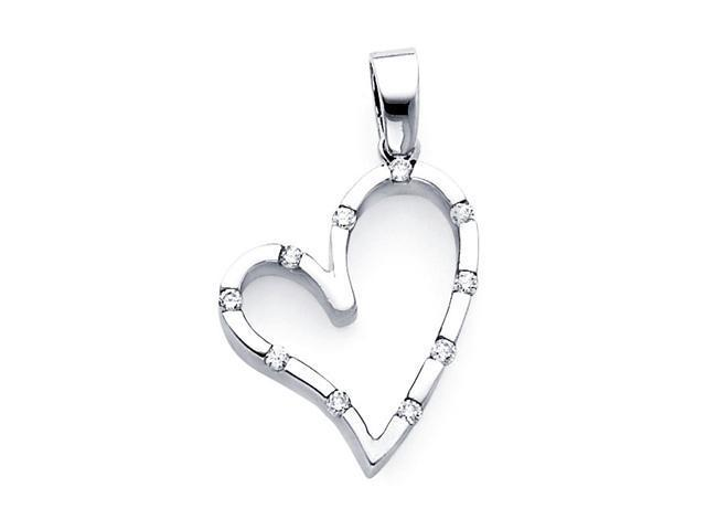 Diamond Heart Pendant 14k White Gold Charm Elegant Love (0.13 Carat)