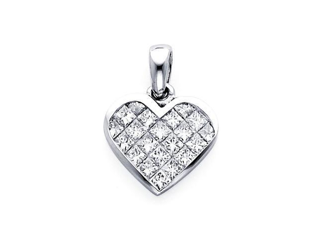 Heart Diamond Pendant Princess 14k White Gold Charm Elegant (1/3 CTW)