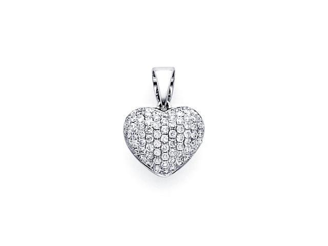 Heart Diamond Pendant 14k White Gold Charm Elegant Love (1/3 Carat)