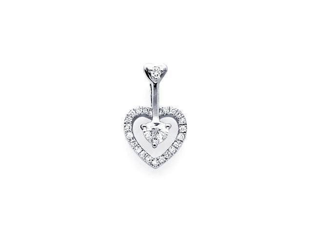 Solitaire Heart Diamond Pendant 18k White Gold Charm Round (1/5 Carat)