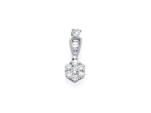 Cluster Diamond Pendant 14k White Gold Charm Round Elegant (0.40 CTW)