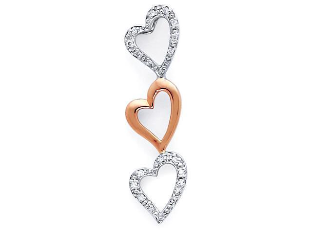 Three Hearts Diamond Pendant 14k Rose and White Gold Charm Love .06 CT