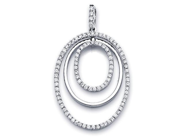 Oval Circles Diamond Pendant 18k White Gold Eternity Charm Love .91 CT