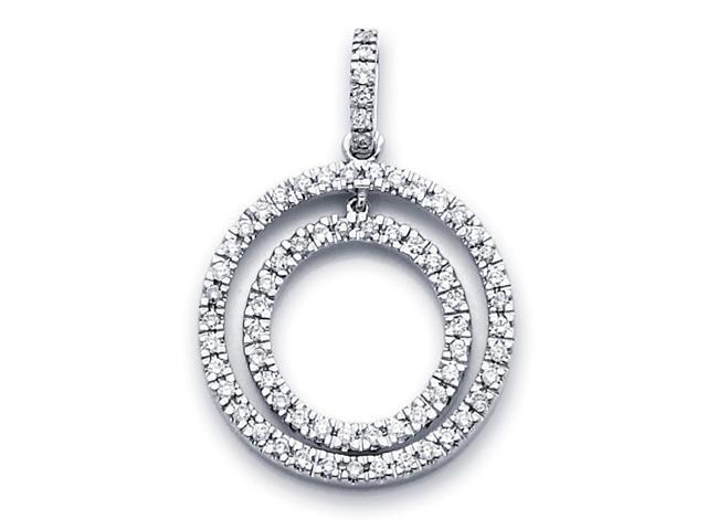 Diamond Circle Pendant 14k White Gold Eternity Love Charm (1/2 Carat)