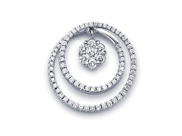 Diamond Circle Pendant Solitaire Cluster 14k White Gold Eternity .83ct