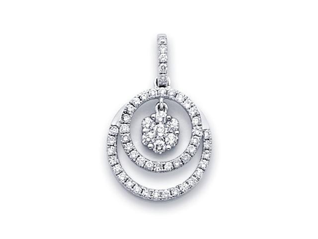 Diamond Circle Pendant Round Solitaire Cluster 18k White Gold (0.57ct)
