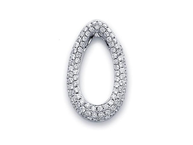 Pear Shape Diamond Pendant 14k White Gold Eternity Charm Pave (2/3 CT)