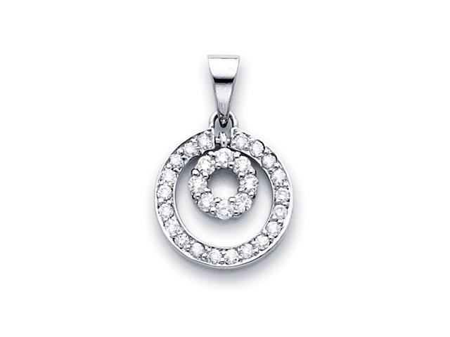 Circle Diamond Pendant 14k White Gold Eternity Charm Love (0.45 Carat)