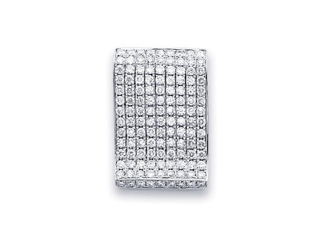Diamond Pendant Fashion Wave Slide 14k White Gold Charm (0.85 Carat)