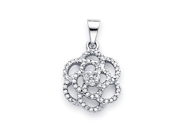Rose Flower Diamond Pendant 14k White Gold Charm (1/3 Carat)