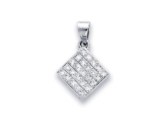 Square Princess Diamond Pendant 14k White Gold Fashion Charm (0.94 CT)