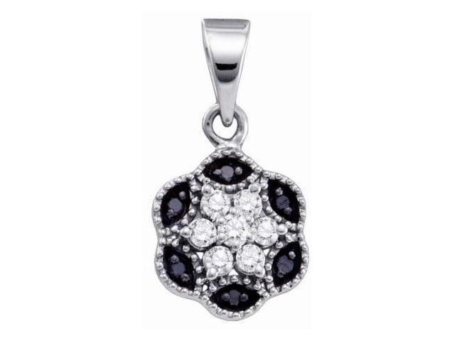 Black & White Diamond Flower Pendant 10k White Gold Charm (1/5 Carat)