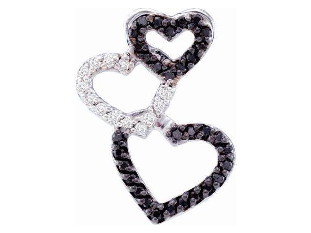 Black & White Diamond Hearts Pendant 14k White Charm (1/4 Carat)