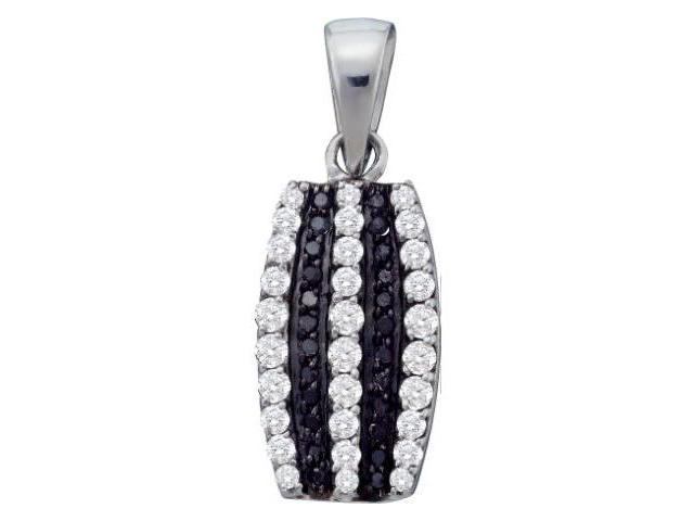 White & Black Diamond Pendant Dangle 10k White Gold Charm (1/3 Carat)
