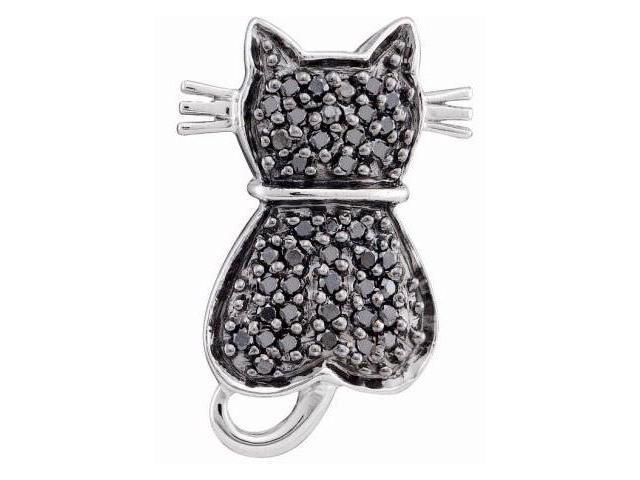 Black Diamond Cat Pendant 14k White Gold Charm (1/4 Carat)