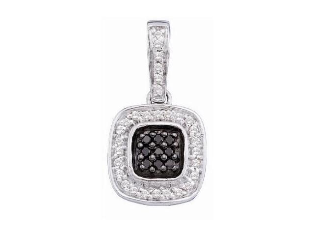 White & Black Diamond Pendant 14k White Gold Dangle (1/4 Carat)