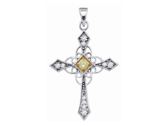 Diamond Cross Pendant 10k Yellow & White Gold Charm (1/3 Carat)