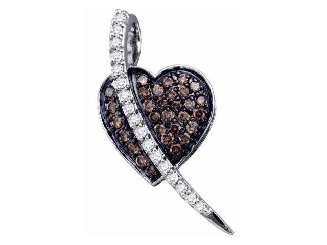 Brown Champagne Diamond Heart Pendant 10k White Gold Charm (1/2 Carat)