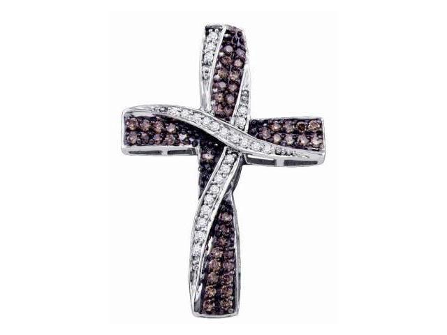 Brown Champagne & White Diamond Cross Pendant 14k White Gold (1/2 CTW)