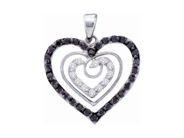 White & Black Diamond Hearts Pendant 14k White Gold Love (2/3 Carat)