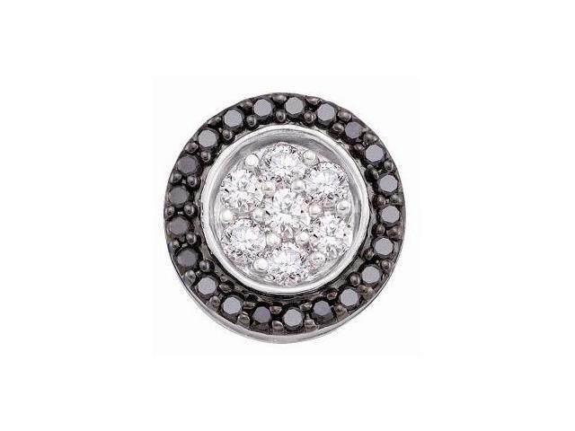 Black & White Diamond Pendant Solitaire Set 14k White Gold (3/4 Carat)