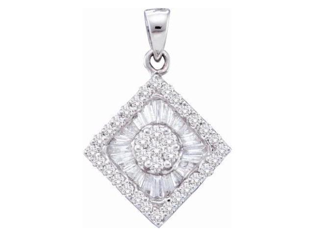 Diamond Pendant Solitaire Set Cluster 14k White Gold Charm (0.97 CTW)
