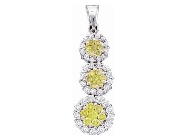 Yellow Diamond Pendant Three Stone Setting 14k White Gold (1.00 Carat)
