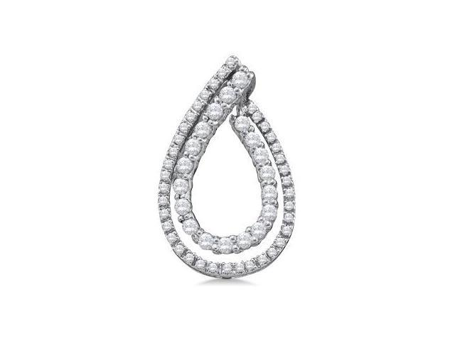 Diamond Fashion Pendant 10k White Gold Charm (1/2 Carat)