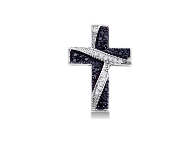 White & Black Diamond Cross Pendant White Gold Crucifix Charm (1/4 ct)
