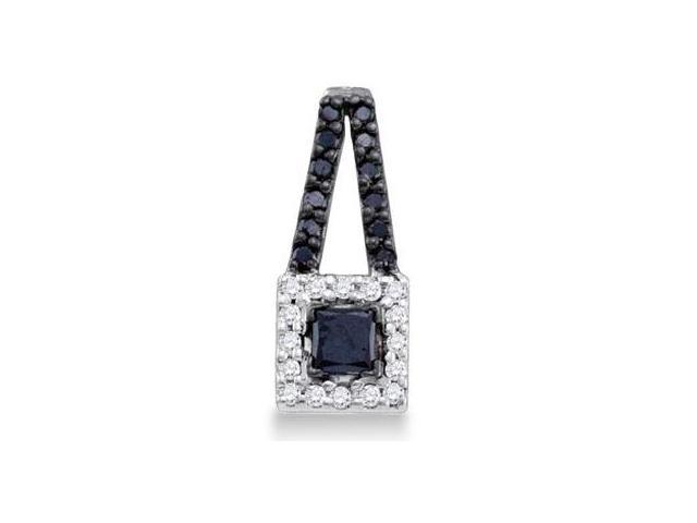 Black Diamond Fashion Pendant 10k White Gold Charm (1/2 Carat)
