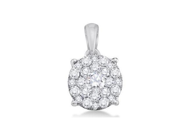 Diamond Pendant 14k White Gold Charm Solitaire Cluster (1/4 Carat)