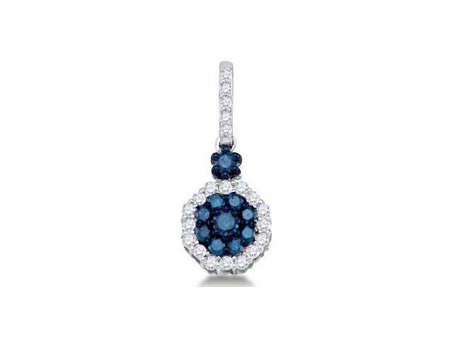 Aqua Blue Diamond Pendant 10k White Gold Fashion Charm (1/2 Carat)