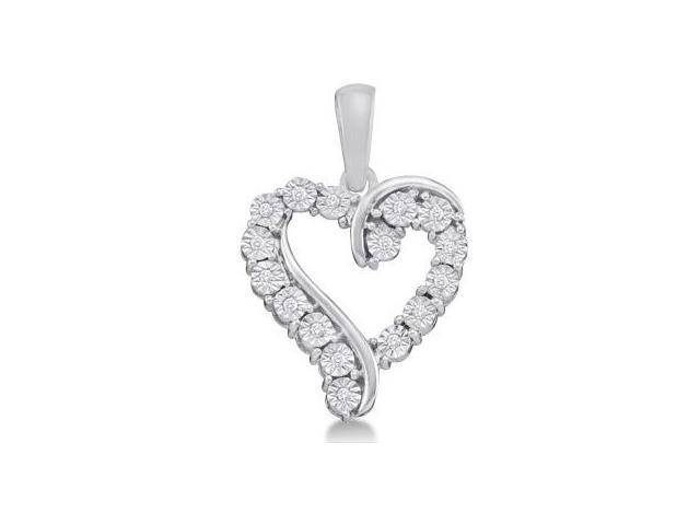 Diamond Heart Pendant 10k White Gold Fashion Love Charm