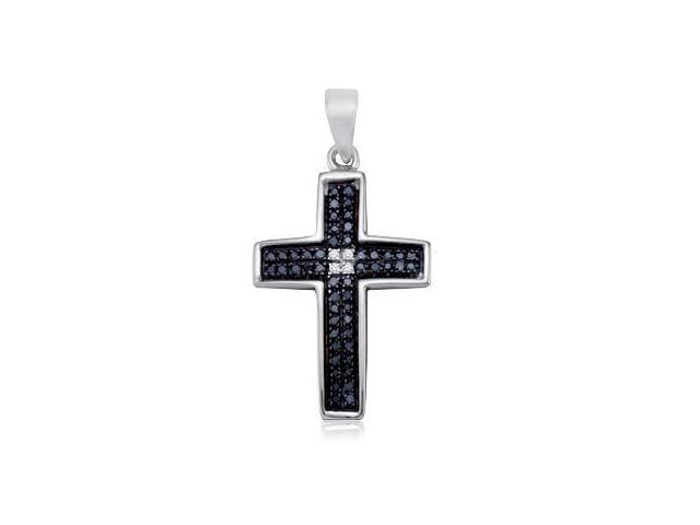 Black Diamond Cross Pendant Sterling Silver Charm (0.15 Carat)