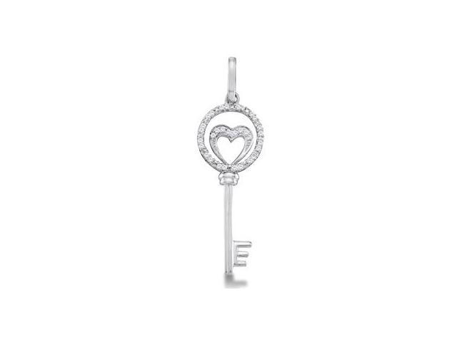 Diamond Key Pendant Heart Charm 10k White Gold (0.10 Carat)