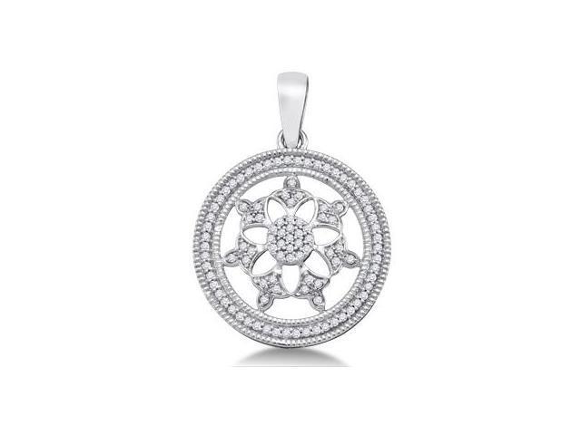 Diamond Fashion Pendant 10k White Gold Charm (1/4 Carat)