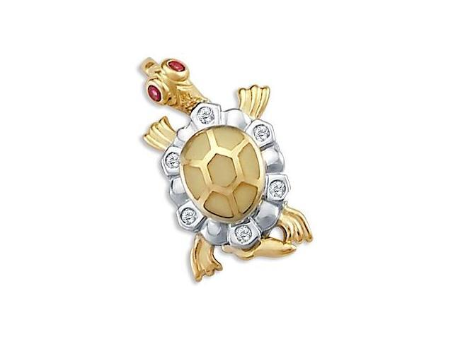 Turtle Pendant 14k White Yellow Gold Red CZ Charm Cubic Zirconia