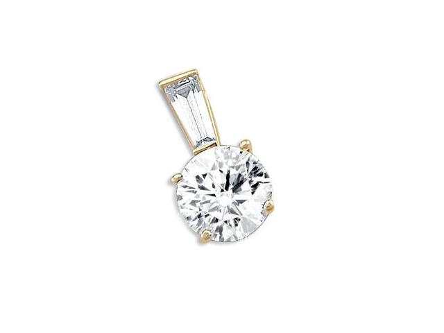 Solitaire Pendant Round CZ 14k Yellow Gold Charm Womens Cubic Zirconia